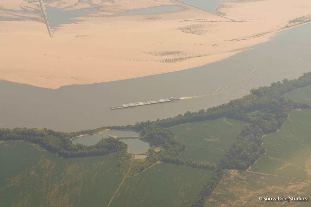 Aeriel View - The Mighty Mississippi River with Barge