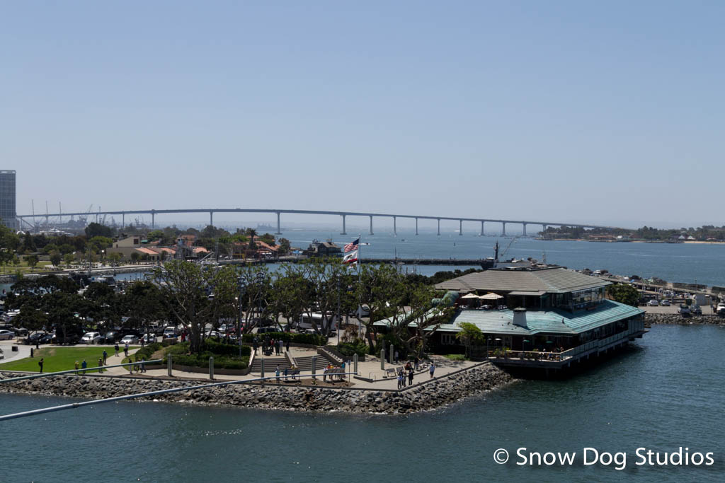 Coronado Bay Bridge from the deck of the USS Midway Museum